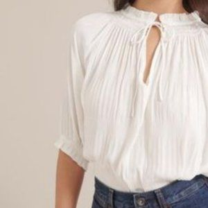 Ruched-sleeve blouse
